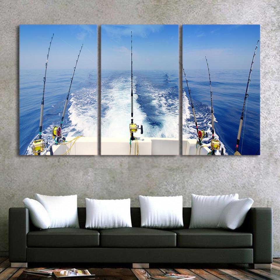 Modular lienzo Wall Art imágenes decoraciones de Navidad para el hogar imprime 3 Panel pescar paisaje imágenes marco