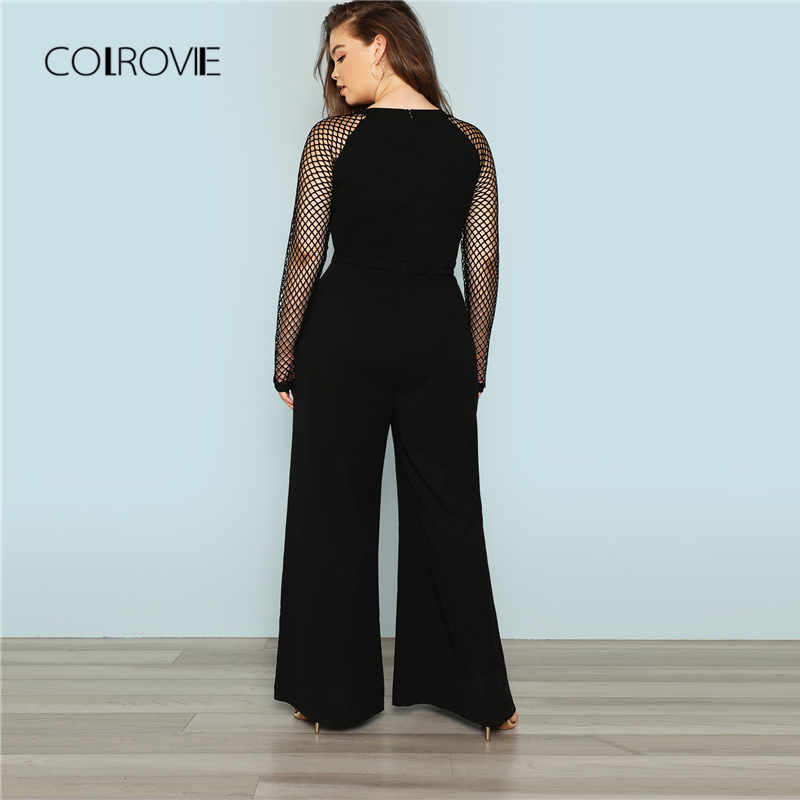 fee5a98b9e5 COLROVIE Plus Size Black Solid Office Cut Out Sexy Jumpsuit Women 2018  Autumn Fishnet Sleeve Overalls Female Elegant Jumpsuits-in Jumpsuits from  Women s ...
