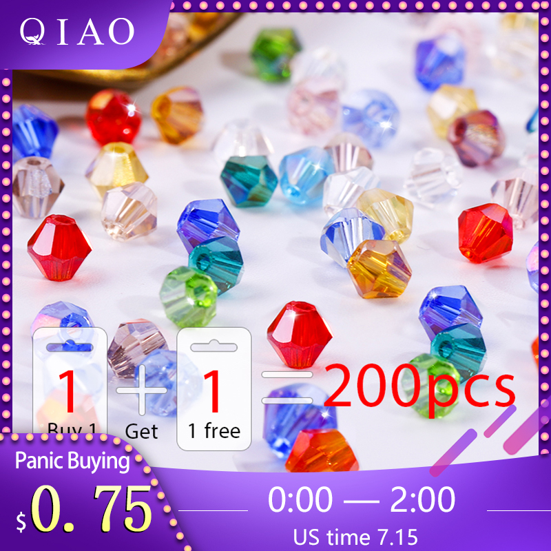 200 pcs Acrylic faceted bicone bead 6mm c45 ab color U Pick