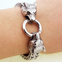 Men's Jewelry 316L Stainless Steel Chain Charm Wolf Head Bracelet Men's Bracelet & Bangles Retro Gift Fashion Bracelet Wholesale