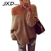 JXDINOY knitted Shoulder off sweaters 2018 women Fashion oversized sweater Autumn winter Patchwork Vintage stitching sweater