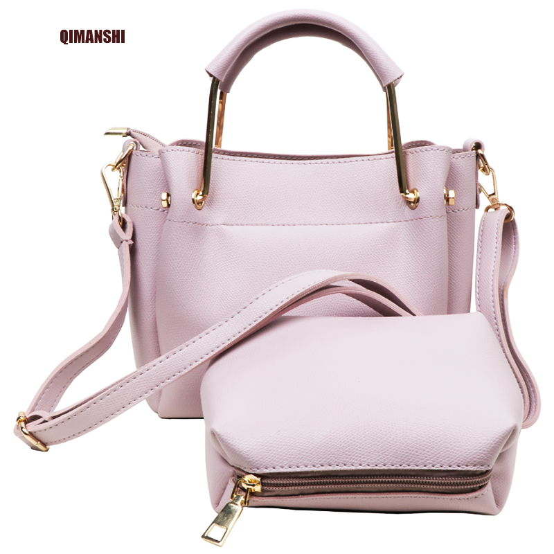 QIMANSHI  TWO pieces shoulder tote bag  Female Famous Brand 2017 Women Messenger Bags Handbag PU Leather Composite Bag bolsas цена