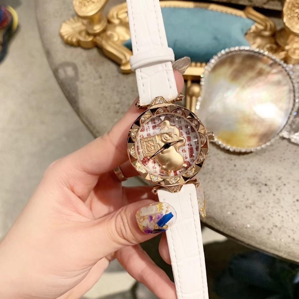 Chine Culture chanceux cochon filature montres or Animal bonne chance rotation montre bénédiction mots FU mode montre-bracelet cristaux
