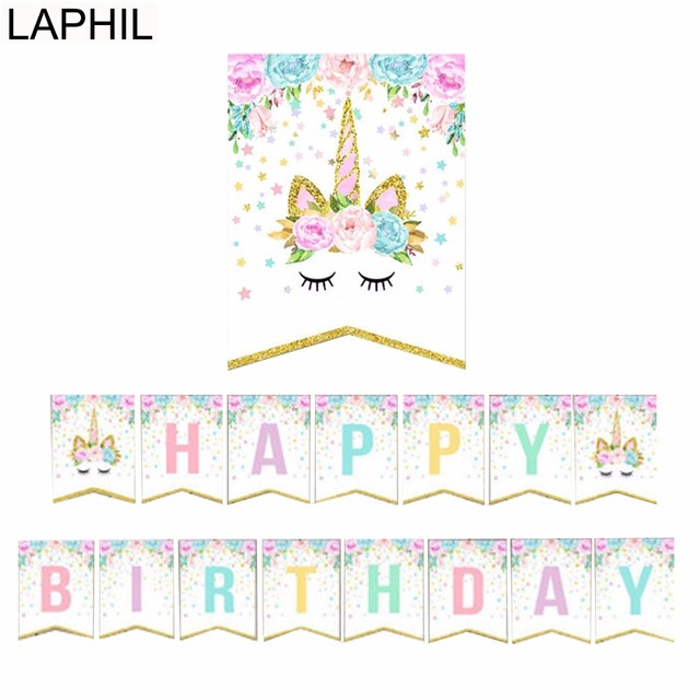 LAPHIL Unicorn Happy Birthday Banner Baby Shower Paper ...