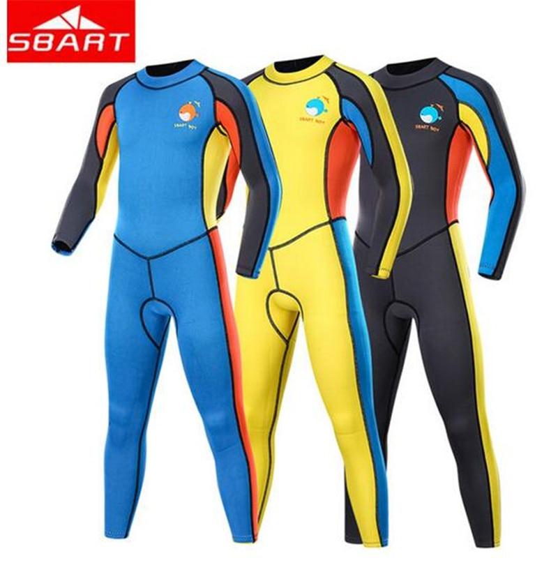 SBART 2 MM une pièce combinaisons enfants maillots de bain combinaison de plongée manches longues garçons filles surf combinaison de plongée