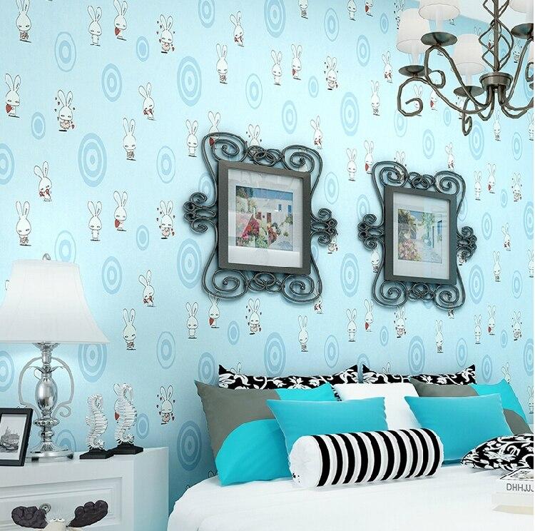 Boys Bedroom With Soldier Print Wallpaper: Blauw Kleur Wit Rabit Behang Voor Jongens En Meisjes Kamer