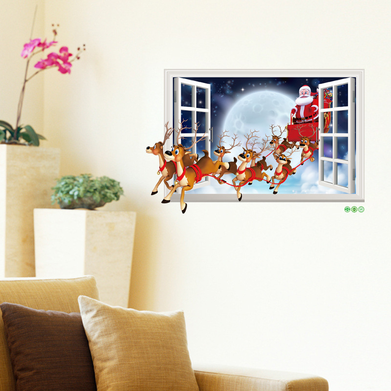 3D PVC Christmas Decorations For Home Glass Wall Stickers Home Decor Living Room Window Decal Wall Stickers Can Be Removed Gift in Wall Stickers from Home Garden