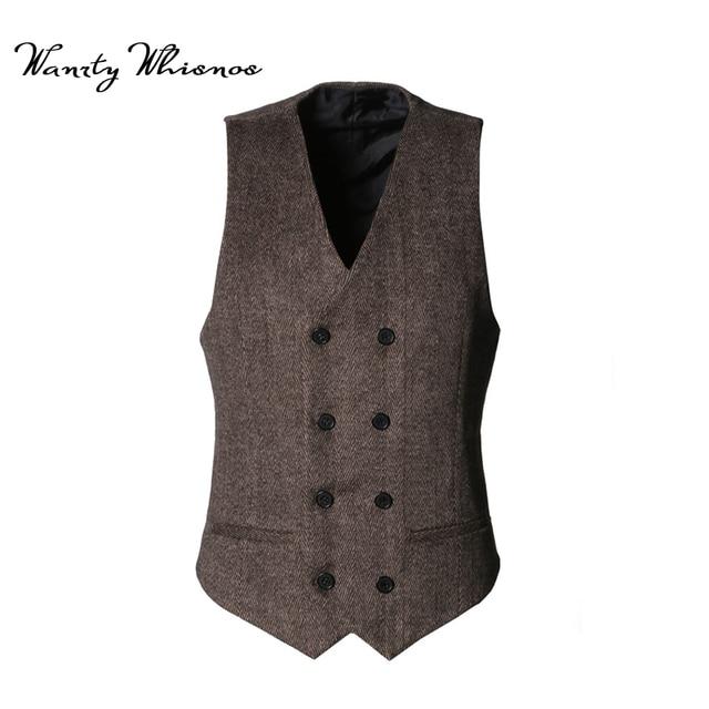 2018 Hommes Double Breasted Gilet Hommes Robe Costume Gilet Hommes Formelle  gris De Laine Gilet Costume f29161e1cf4