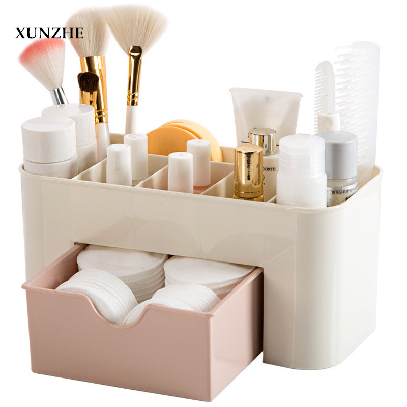 XUNZHE Plastic Cosmetic Storage Box With Small Drawer Multi-functional Jewelry Box Desk Sundries Storage Container Organizer
