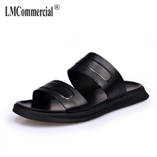 Genuine Leather slippers male 2018 new summer men's casual sandals all-match cowhide Sneakers Men Flip Flops beach outdoor все цены