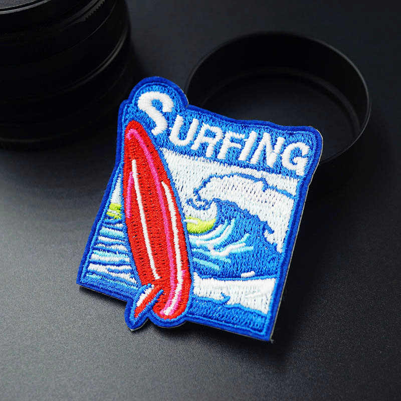 Surfing Ukuran: 5.5x6.6 cm Lencana Patch Jins Tas Topi Pakaian Pakaian Dekorasi Applique Bagde Patch Aksesoris Jahit