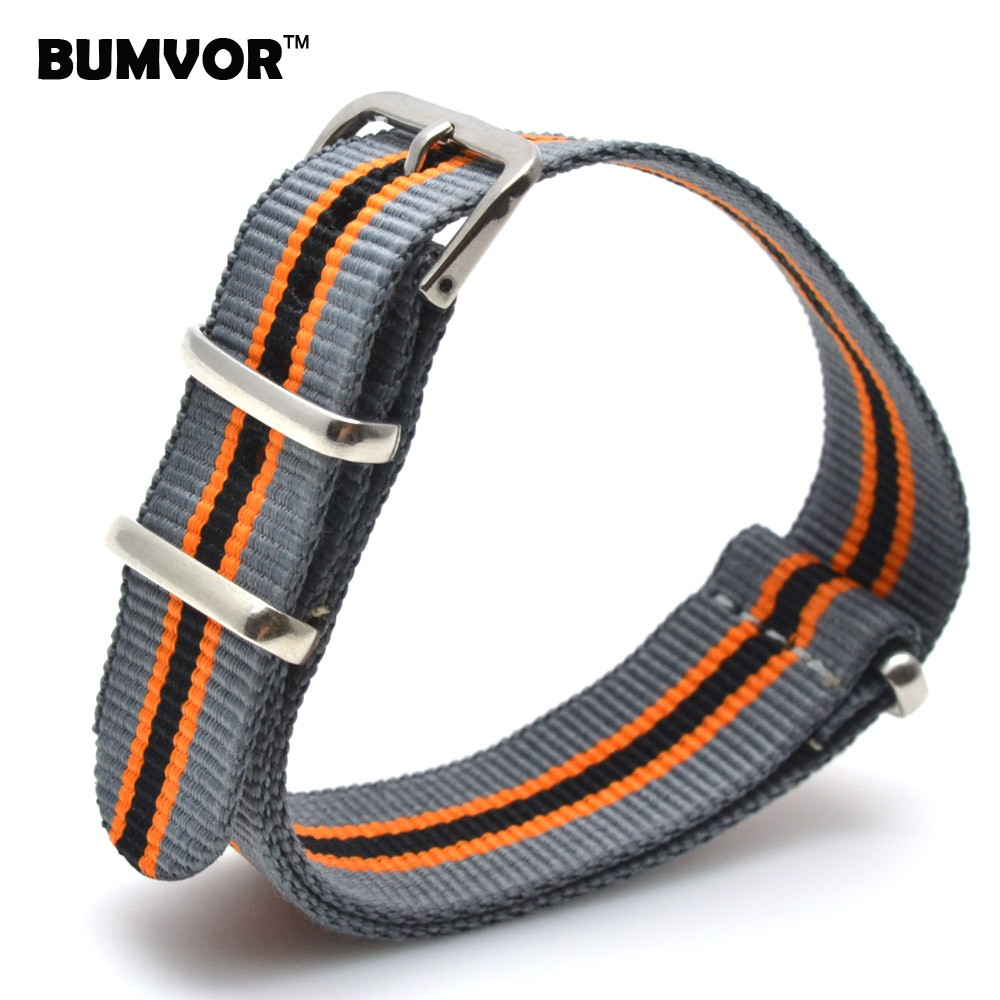 20 mm Cambo Grey/Orange/Black Nato Woven Fiber watchband 20mm Nylon Watch Bracelet Strap Wristwatch Band Buckle Man Women 2018 new style nato strap 16mm watchband silver buckle army military nylon watch band bracelet for watch bracelet 16 mm
