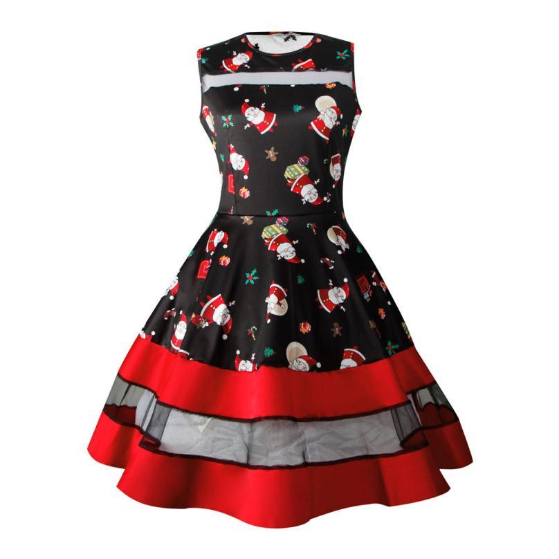 JAYCOSIN Womens Santa Snowman Christmas Vintage Dress Sleeveless Xmas Swing Retro Polyester  Dresses z0816#