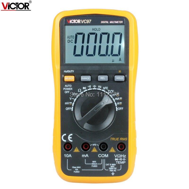 ФОТО Victor VC97 multimeter Auto range DMM AC DC Voltmeter Capacitance Resistance True RMS 4000 counts digital multimeter VS FLUKE15B