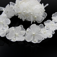 2 Yards 5cm Width White Double Layered Flower Pearl Lace Trim DIY Sewing Craft For Clothing