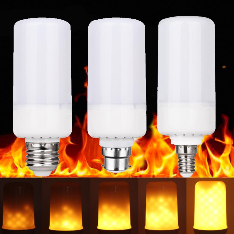 Flame Effect Fire Light Led Corn Bulb Holiday Light E27 E26 E14 B22 Lamp Base Fire Burning Flicker Christmas Lights AC 85-265V