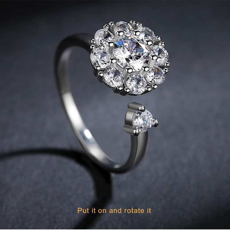 Anenjery Trendy Fashion 925 Sterling Silver Dazzling CZ Rotate Opening Rings Engagement  ...