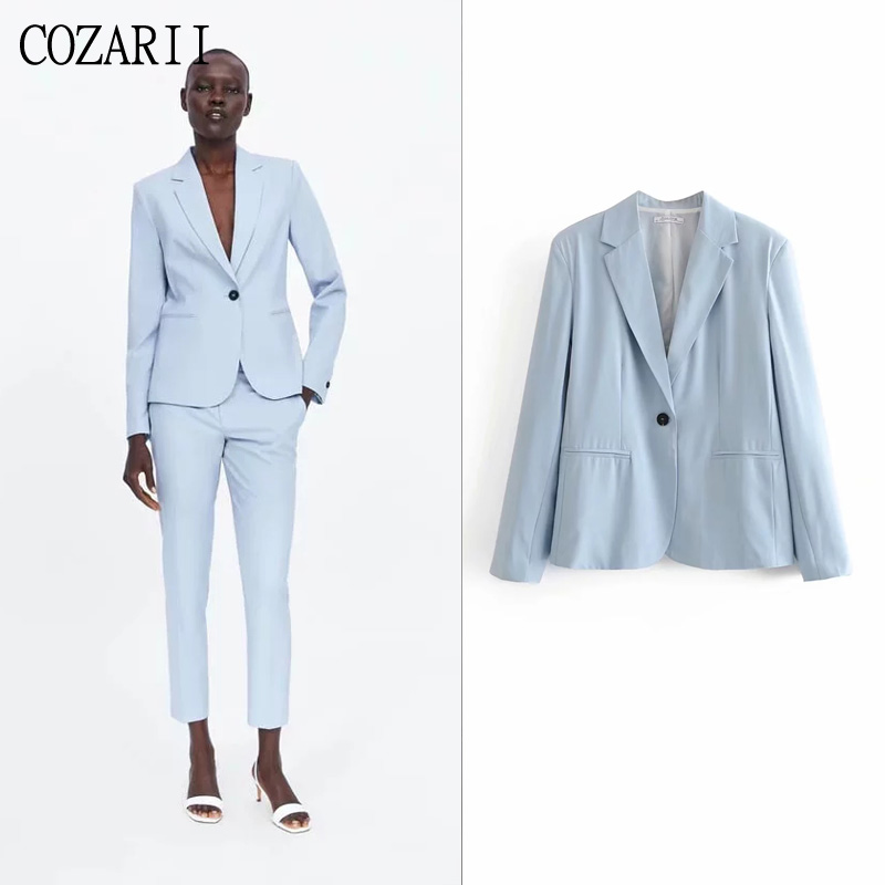 COZARII blazer mujer 2019 women solid notched collar pockets full sleeve single button casual style women blazers