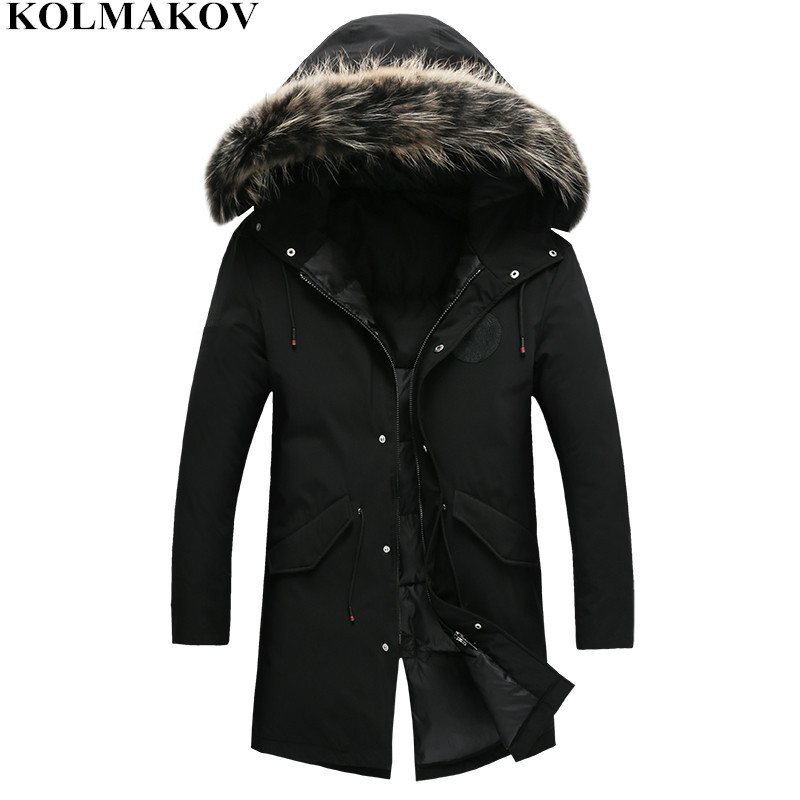 KOLMAKOV new mens Winter Down Coats men's Parkas homme 2018 Warm Fur Hooded Black Jackets Masculino Thick Coat Plus Size M-3XL