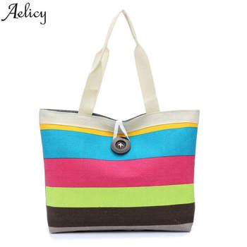 Aelicy 2018 Shoulder Bag Canvas Women Large Capacity Female Shopping Bag Canvas Designer Handbags High Quality Beach Bag Lady