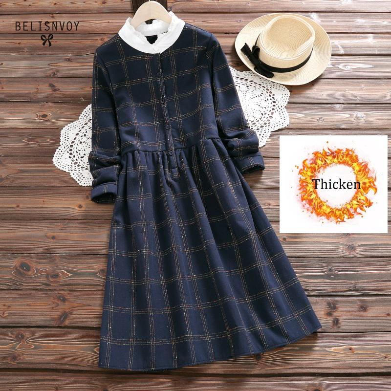 Thicken Korean Version Colorful Plaid Lace Stitching Stand Collar Long Sleeve Mori Girl Dress Female 2018 Autumn Wemen Clothing