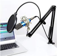 bm 800 Condenser Microphone for computer Cardioid Audio Studio Vocal Recording Mic KTV Karaoke + Microphone stand+pop filter
