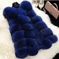2016 abrigo de invierno las mujeres de imitación de piel de zorro chaleco de piel chalecos femme moda chaqueta de las mujeres