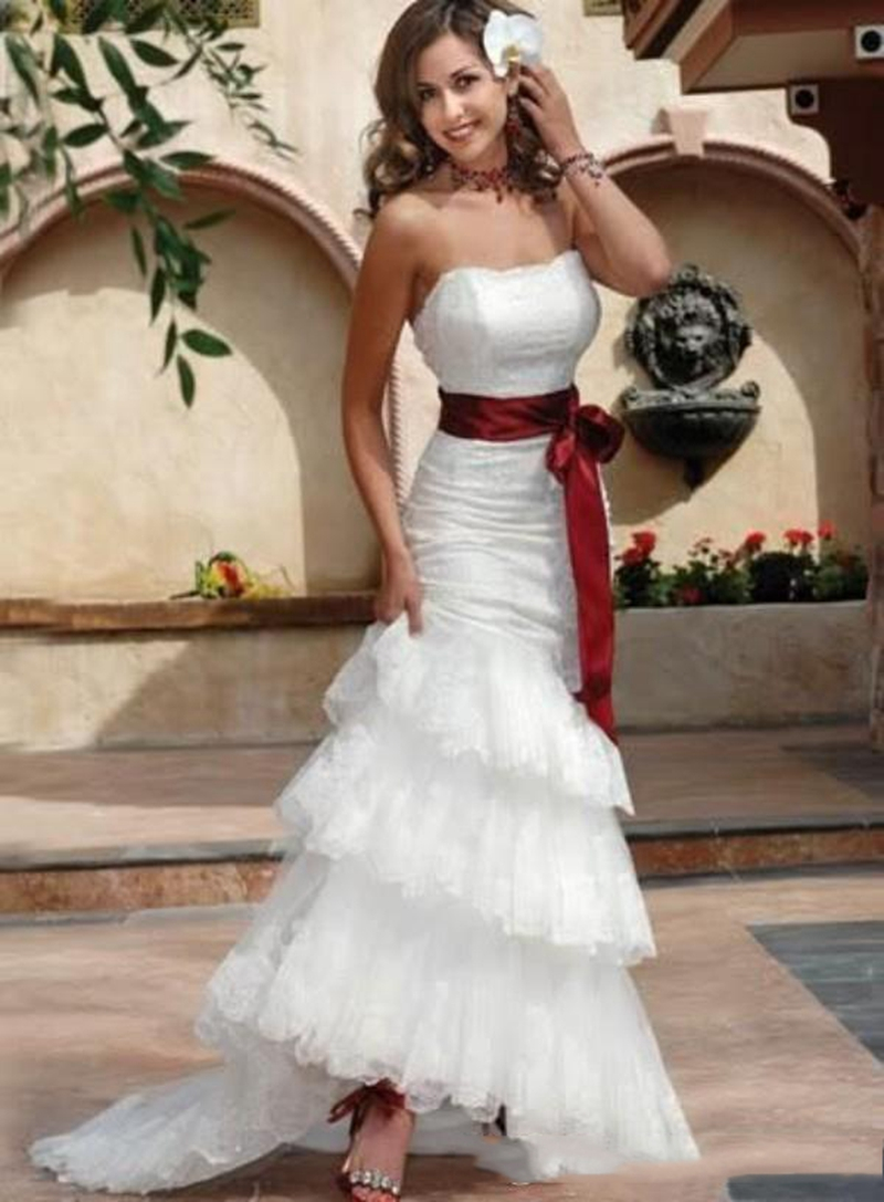 Fashion 2017 Elegant Mermaid White Wedding Dress Plus Size Lace Tiered Backless Gown Vestidos De Novia Tallas Grandes In Dresses From