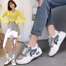 Summer women shoes 2019 new breathable mesh laser hollow sequins color matching wild lace sports