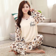 Cartoon Bear Pajama Sets Women Sleepwear Polyester Nightwear Long Sleeve Pajamas Tops and Pants Trousers P22 Beige