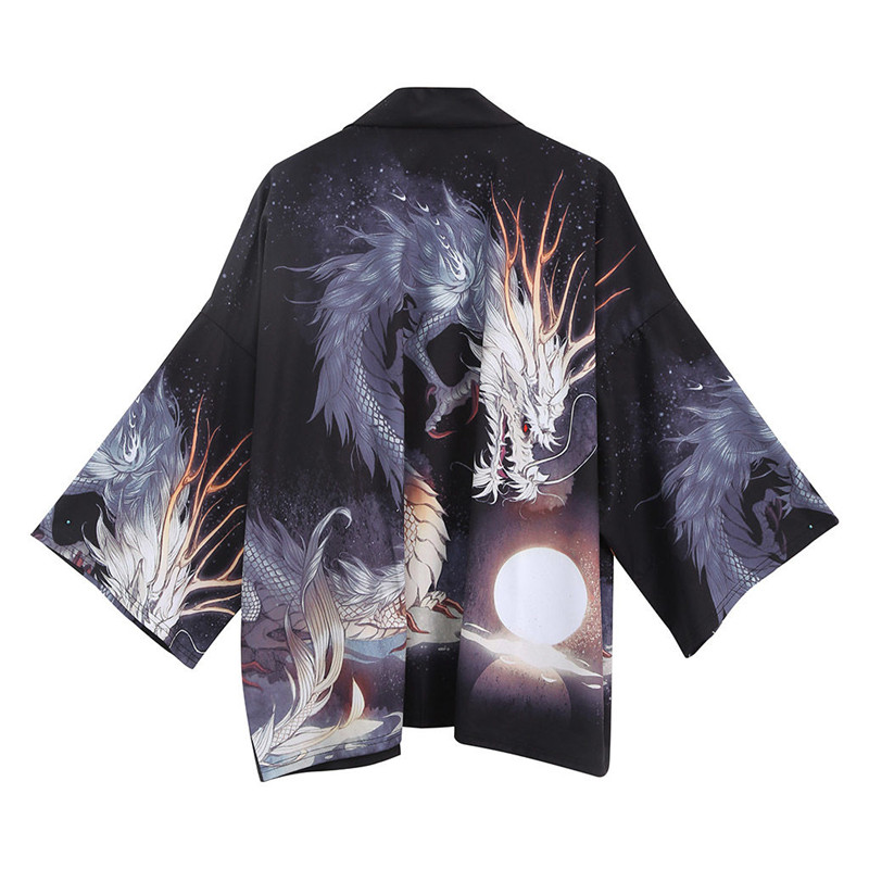 Japanese Kimono Men Bathrobe Print Dragon Sleepwear Big Size Man Long Sleeve Summer Robe 2019 Fashion Asian Harajuku Clothes