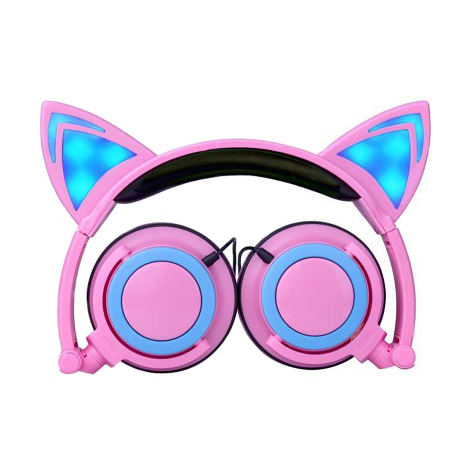 Cute Cat Ear Headphones With Led Light Up Pink Portable
