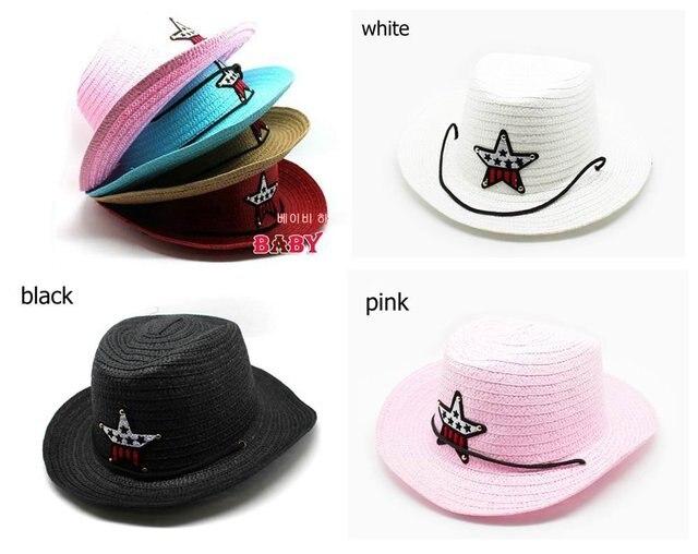 Children hats Caps Western Cowboy straw hat With Star Fashion Kid's Summer Cap Black white pink Mix