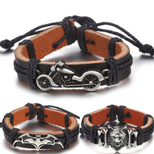 b58b7eb7dddf Pulsera de cuero de Batman de motocicleta Vintage para hombres y mujeres  hecha a mano tejido cuerda encanto pulsera joyería acce.