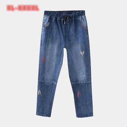 2018 Весна Для женщин Джинсы для женщин плюс Размеры шнурок эластичный пояс мыть свободные Для женщин S Повседневное джинсовые штаны Прямые