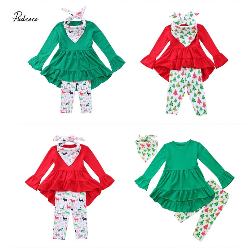 Pudcoco 2018 New Toddler Kid Baby Girl Christmas Clothes Set Long Flare Sleeve D