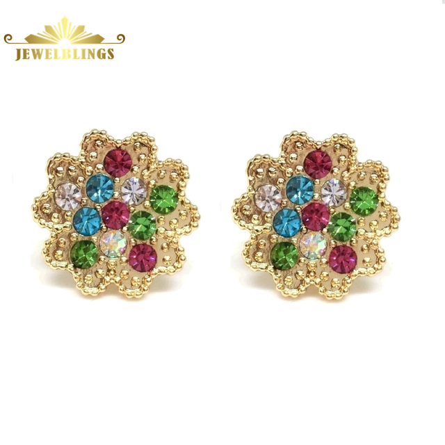 round fashion stone style jewelry new earrings earring cut multi women colored item silver color stud