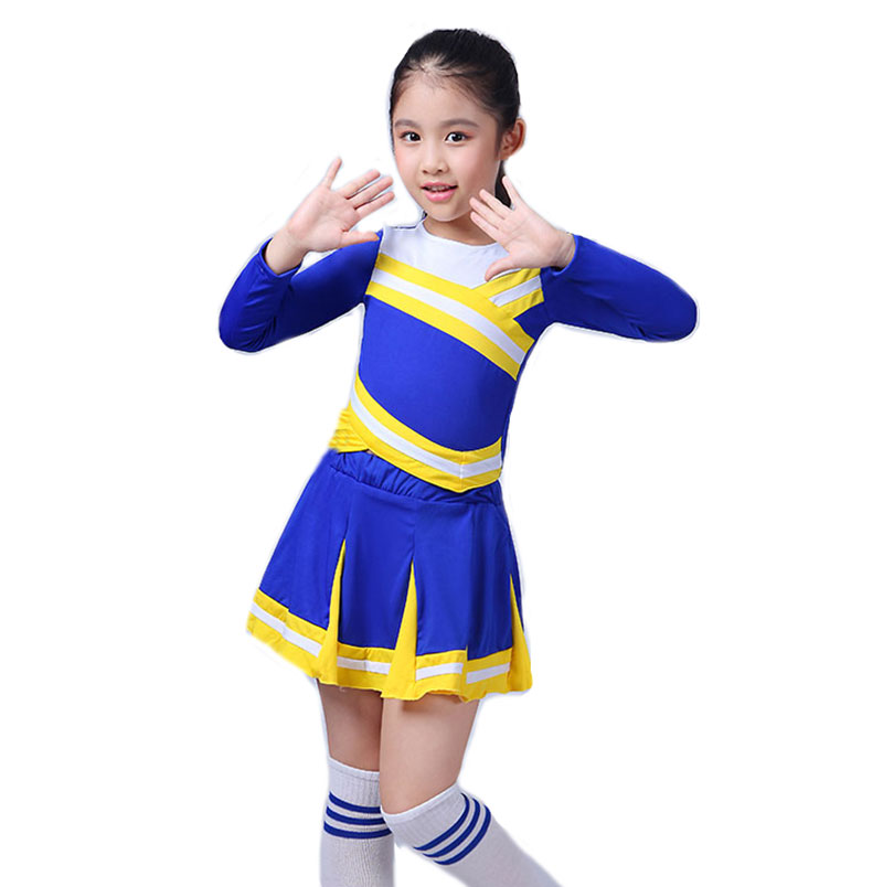 New Competition Cheerleaders Girl School Cheer Team Uniforms Kids Performance Costume Sets Girls Class Suit Girl Rooter Suits image