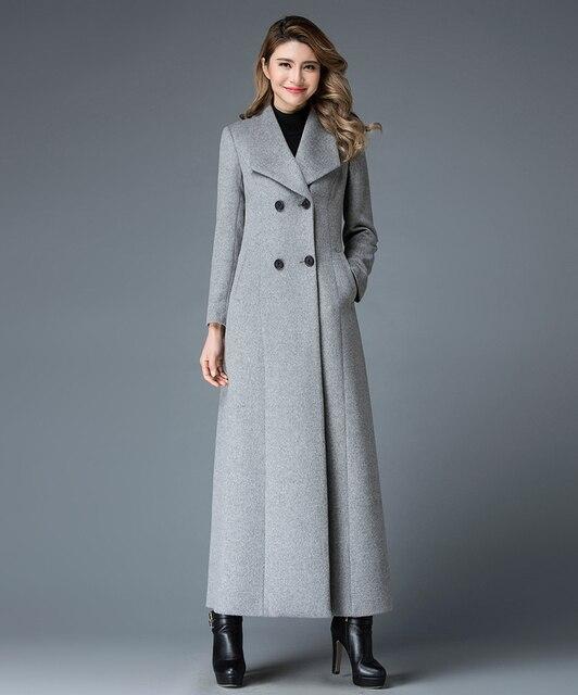 Новый зимнее пальто кашемир длинное пальто 2017 новая мода Европейских и Американских темперамент Тонкий двубортный плюс размер пальто