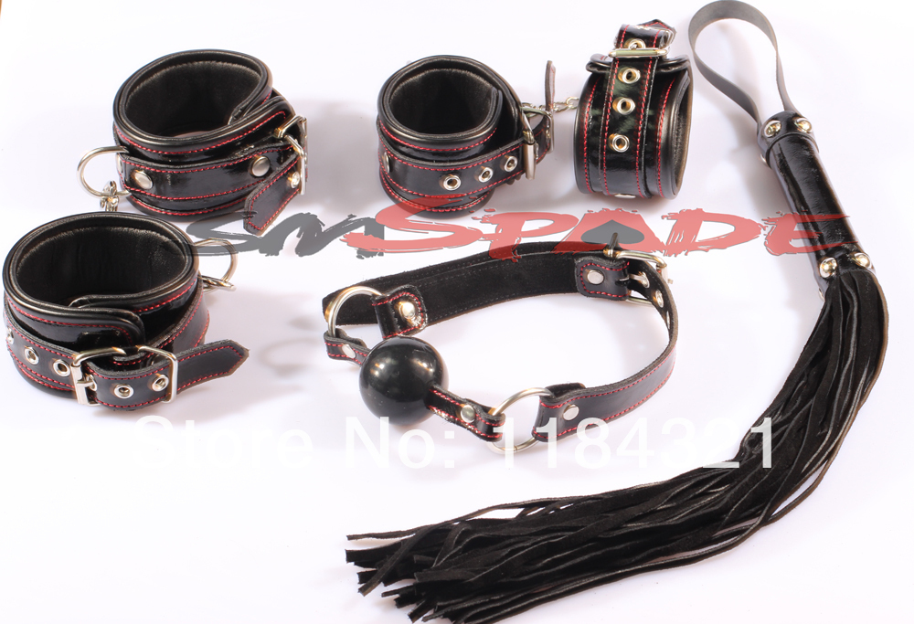 100% leather restraint set adult sex product for couples sex game leather hand cuffs leather whip ball gag,ankle cuffs fun sex new arrival luxury top leather ankle cuffs brown suede feet cuffs sex restraint products adult sex toys