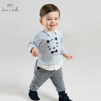 DBJ9900 dave bella spring baby boys fashion print sets kids long sleeve clothing sets children 2 pcs suit - DISCOUNT ITEM  50% OFF All Category