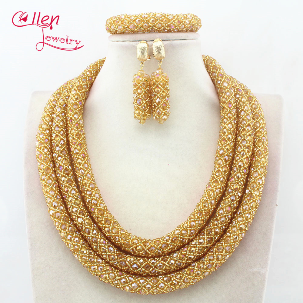 цена Nigerian Wedding Bridal Jewelry African Beads Jewelry Set Handmade Dubai Bridal costume jewelry Necklace Bracelet Earrings N0001 онлайн в 2017 году