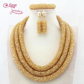 Nigerian Wedding Bridal Jewelry African Beads Jewelry Set Handmade Dubai Bridal costume jewelry Necklace Bracelet Earrings N0001