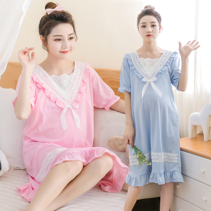 Summer Lace Nightwear Maternity New Dress Nursing Clothes Sleepwear Thin For Pregnant Women Pajamas Cartoon Pyjama Breastfeeding