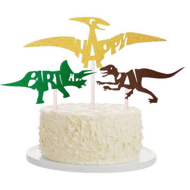 3pcs Jurassic Dinosaur Cake Toppers Pterosaur Tyrannosaurus Rex Cupcake Topper For Birthday Party Baking Dessert Decoration