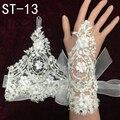 Fábrica de atacado casamentos laço nupcial luvas 2016 new adulto luvas sem dedos curto marfim rendas com flores st-13 frete grátis