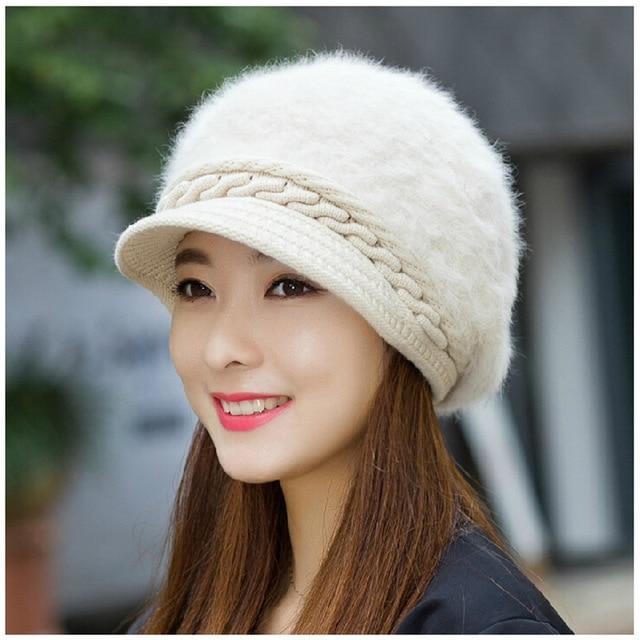 Sombreros de Piel de conejo para Las Mujeres de Invierno de Punto Skullies y Gorritas Tejidas para Mujer de color Sólido Ocasional Genuino Pelo de Conejo Gorras de Moda gorros