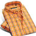 2017 Summer Mens Short Sleeve Plaid 100% Cotton Casual Shirt Orange Lightwight Button Down Collar Classic Slim fit Dress Shirts