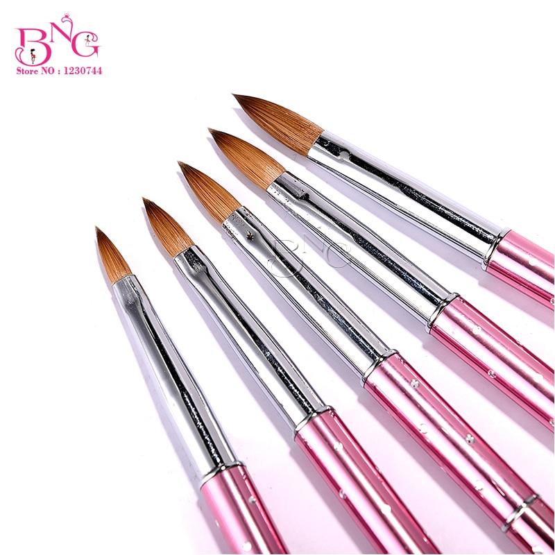 где купить BNG #2#4#6#8#10 Nylon&Kolinsky Hair Nail Brush Pink Nail Art Acrylic Brush Pen For UV Gel Polish Manicure Tools по лучшей цене