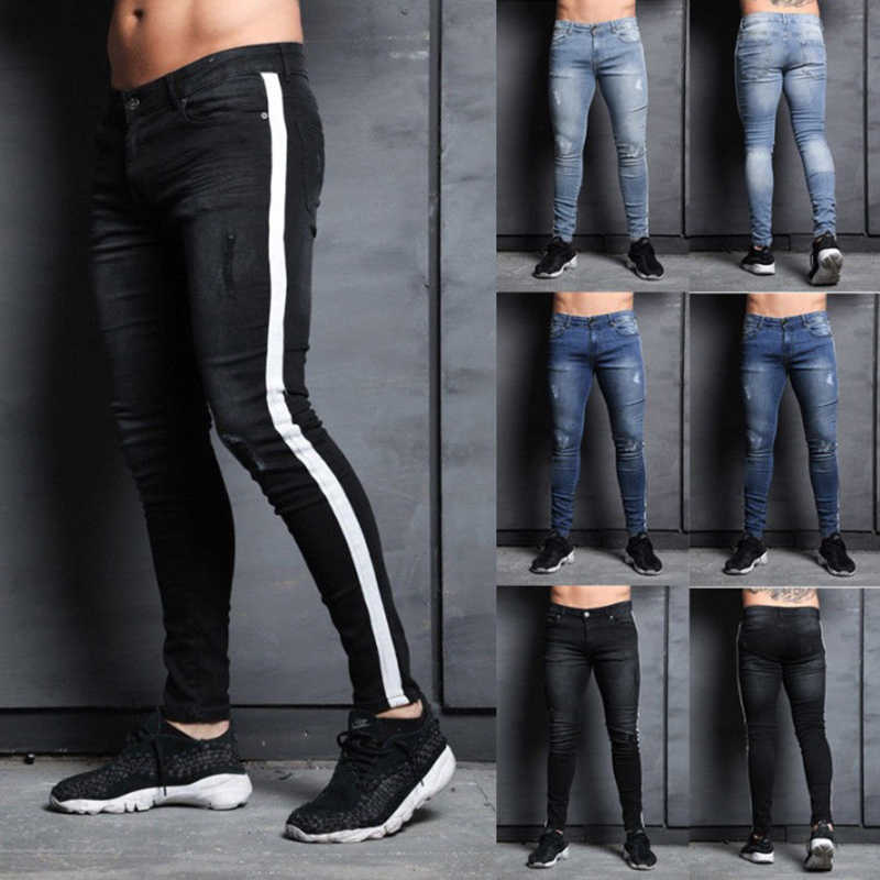 61d0630532 Men ripped hole denim Jeans Slim men's striped Jeans Hip hop Skinny pencil  Jeans For Men